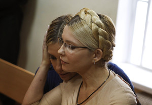 Ukrainian ex-prime minister Tymoshenko and her daughter Yevhenia attend a session at the Pecherskiy district court in Kiev